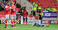 Lincoln City's Michael O'Connor lays on the pitch after appearing to suffer an injury in the second half<br /> <br /> Photographer Chris Vaughan/CameraSport<br /> <br /> The EFL Sky Bet Championship - Rotherham United v Lincoln City - Saturday 10th August 2019 - New York Stadium - Rotherham<br /> <br /> World Copyright © 2019 CameraSport. All rights reserved. 43 Linden Ave. Countesthorpe. Leicester. England. LE8 5PG - Tel: +44 (0) 116 277 4147 - admin@camerasport.com - www.camerasport.com