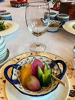 Yangzhou, Jiangsu, China.  Appetizer before a Chinese Dinner: Watermelon, Melon, Grape, and Cucumber.