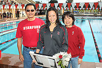STANFORD, CA - FEBRUARY 13:  Michelle Liu of the Stanford Cardinal on Senior Day during Stanford's 167-131 win over California at the Avery Aquatic Center on February 13, 2010 in Stanford, California.