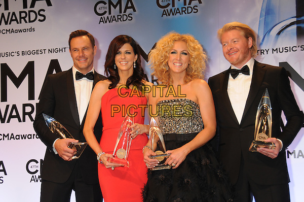 06 November 2013 - Nashville, Tennessee - Karen Fairchild, Kimberly Schlapman, Jimi Westbrook, Philip Sweet of Little Big Town.. 47th CMA Awards, Country Music's Biggest Night, held at Bridgestone Arena. <br /> CAP/ADM/DMF<br /> &copy;DMF/AdMedia/Capital Pictures