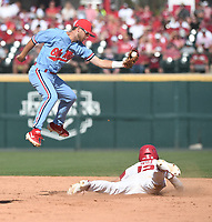 NWA Democrat-Gazette/J.T. WAMPLER Arkansas' Casey Opizz slides into second base under the tag by Ole Miss' Jacob Adams Monday June 10, 2019 during the NCAA Fayetteville Super Regional at Baum-Walker Stadium in Fayetteville. Arkansas won 14-1 and will advance to the College World Series in Omaha.