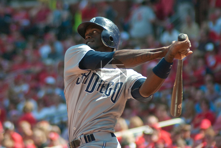 April 3,  2011                           San Diego Padres center fielder Cameron Maybin (24) swings. The St. Louis Cardinals defeated the San Diego Padres 2-0 in the final game of a three-game series on Sunday April 3, 2011 at Busch Stadium in downtown St. Louis.