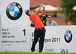 Matteo Manassero (ITA) tees off on the 1st tee off during Day 2 of the BMW Italian Open at Royal Park I Roveri, Turin, Italy, 10th June 2011 (Photo Eoin Clarke/Golffile 2011)