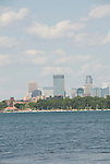 Minnesota, Twin Cities, Minneapolis-Saint Paul: Recreation at the south end of Lake Calhoun, with the Minneapolis skyline in the background..Photo mnqual272-75188..Photo copyright Lee Foster, www.fostertravel.com, 510-549-2202, lee@fostertravel.com.