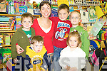 Daniel Casey, Emma Sheehan, Eoghan O'Grady, Joseph Coffey and Dylan O'Shea with junior infants teacher Miss Golden at Filemore National School on Wednesday.   Copyright Kerry's Eye 2008