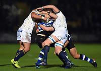 Jack Wilson of Bath Rugby is double-tackled. Aviva Premiership match, between Worcester Warriors and Bath Rugby on January 5, 2018 at Sixways Stadium in Worcester, England. Photo by: Patrick Khachfe / Onside Images