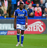 Macclesfield Town's Malachi Napa<br /> <br /> Photographer Andrew Vaughan/CameraSport<br /> <br /> The EFL Sky Bet League One - Macclesfield Town v Lincoln City - Saturday 15th September 2018 - Moss Rose - Macclesfield<br /> <br /> World Copyright &copy; 2018 CameraSport. All rights reserved. 43 Linden Ave. Countesthorpe. Leicester. England. LE8 5PG - Tel: +44 (0) 116 277 4147 - admin@camerasport.com - www.camerasport.com