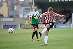 10 July 2014; Patrick McEleney, Derry City, in action against  Aberystwyth Town. UEFA Europa League First Qualifying Round, Second Leg, Aberystwyth Town v Derry City. Park Avenue, Aberystwth, Wales. Picture credit: Ian Cook / SPORTINGWALES
