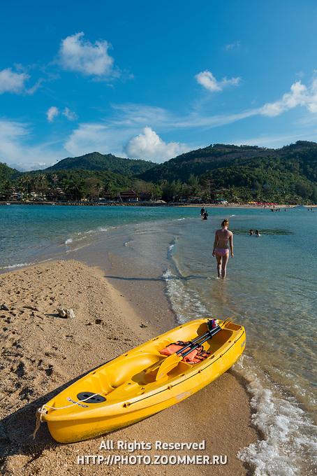 Yellow kayak in Ko Ma island beach near Phangan island, Thailand