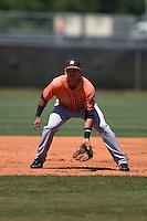 Houston Astros Luis Reynoso (6) during a minor league spring training game against the Atlanta Braves on March 29, 2015 at the Osceola County Stadium Complex in Kissimmee, Florida.  (Mike Janes/Four Seam Images)