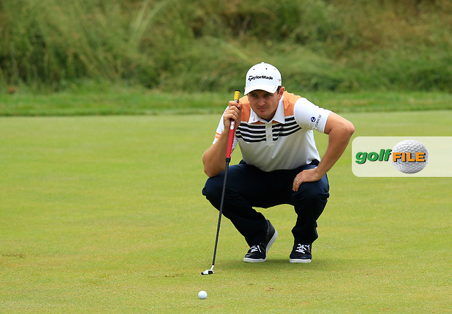 Justin Rose (ENG) lines up his putt on the 17th green during Thursday's Round 1 of the 113th U.S.Open National Championship held at Merion Golf Club, Ardmore, Philadelphia, Pennsylvania. <br /> 13th June 2013<br /> (Picture: Eoin Clarke www.golffile.ie)
