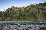 Idaho, Central, Selway-Bitterroot Wilderness Area. Last light of day touches the canyon peaks with the Main Salmon river flowing by.