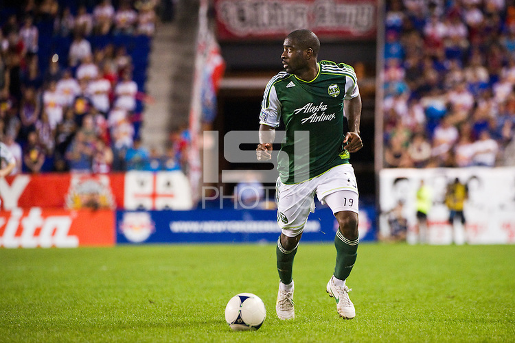 Bright Dike (19) of the Portland Timbers. The New York Red Bulls  defeated the Portland Timbers 3-2 during a Major League Soccer (MLS) match at Red Bull Arena in Harrison, NJ, on August 19, 2012.