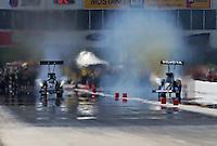 Apr. 28, 2013; Baytown, TX, USA: NHRA top fuel dragster driver Bob Vandergriff Jr (left) alongside Antron Brown during the Spring Nationals at Royal Purple Raceway. Mandatory Credit: Mark J. Rebilas-