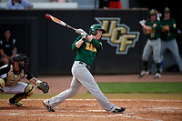 Siena Saints left fielder Matt Hamel (6) bats during a game against the UCF Knights on February 17, 2019 at John Euliano Park in Orlando, Florida.  UCF defeated Siena 7-1.  (Mike Janes/Four Seam Images)