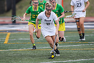 Towson, MD - March 25, 2017: Towson Tigers Natalie Sulmonte (11) gets the ground ball during game between Towson and Oregon at  Minnegan Field at Johnny Unitas Stadium  in Towson, MD. March 25, 2017.  (Photo by Elliott Brown/Media Images International)