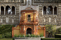 Detail of Gardens, Real Alcazar, Seville, Spain, pictured on December 26, 2006, in the morning. The Real Alacazar was commissioned by Pedro I of Castile in 1364 to be built in the Mudejar style by Moorish craftsmen. The palace, built on the site of an earlier Moorish palace, is a stunning example of the style and a UNESCO World heritage site. The gardens are a mixture of Moorish, French and Renaissance style. Picture by Manuel Cohen.