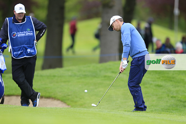 Magnus A Carlsson (SWE) chips onto the 17th green during Thursday's Round 1 of the 2016 Dubai Duty Free Irish Open hosted by Rory Foundation held at the K Club, Straffan, Co.Kildare, Ireland. 19th May 2016.<br /> Picture: Eoin Clarke | Golffile<br /> <br /> <br /> All photos usage must carry mandatory copyright credit (&copy; Golffile | Eoin Clarke)