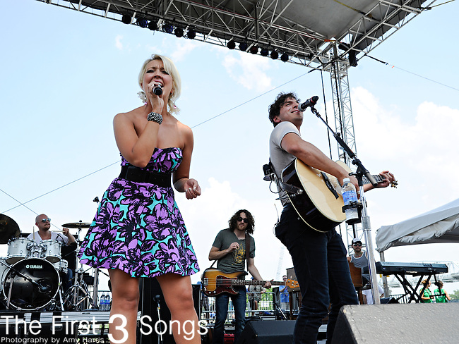 Meghan Linsey and Joshua Scott Jones of Steel Magnolia perform at LP Field during the 2011 CMA Music Festival on June 9, 2011 in Nashville, Tennessee.