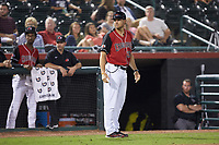 Hickory Crawdads manager Matt Hagen (39) coaches third base during the game against the Kannapolis Intimidators at L.P. Frans Stadium on July 20, 2018 in Hickory, North Carolina. The Crawdads defeated the Intimidators 4-1. (Brian Westerholt/Four Seam Images)