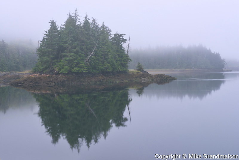 Looking towards Kaien Island. Fog at dawn., , British Columbia, Canada