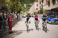 Maglia Ciclamino / points leader Pascal Ackermann (DEU/BORA-hansgrohe) at the race start of stage 6 in Cassino<br /> <br /> Stage 6: Cassino to San Giovanni Rotondo (233km)<br /> 102nd Giro d'Italia 2019<br /> <br /> ©kramon