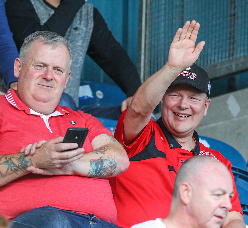 Fleetwood Town fans enjoy the sun in the build up to the game<br /> <br /> Photographer Alex Dodd/CameraSport<br /> <br /> The EFL Sky Bet League One - Rochdale v Fleetwood Town - Saturday 17th September 2016 - Spotland - Rochdale<br /> <br /> World Copyright &copy; 2016 CameraSport. All rights reserved. 43 Linden Ave. Countesthorpe. Leicester. England. LE8 5PG - Tel: +44 (0) 116 277 4147 - admin@camerasport.com - www.camerasport.com