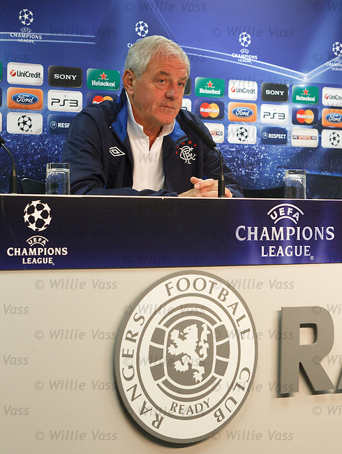 Walter Smith faces the broadcast media ahead of tomorrow's Champions League clash with Valencia