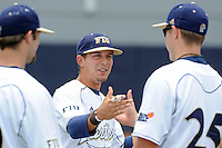 16 May 2010:  FIU's Junior Arrojo (13) enjoys a moment with teammates prior to the game.  The FIU Golden Panthers defeated the University of South Alabama Jaguars, 5-0, at University Park Stadium in Miami, Florida.