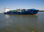 "Heavily laden container ship 'WES GESA"" on the River Maas, Port of Rotterdam, Netherlands"