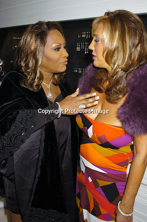 "Patti LaBelle and Denise Rich ..at the Patti LaBelle's VIP Cocktail Reception at Jacob the Jeweler's Store on September 19, 2005 in honor of the announcement of her ""Reflections"" All Star Tribute Concert...Photo by Robin Platzer, Twin Images"