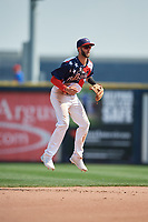 Quad Cities River Bandits shortstop David Hensley (15) during a game against the West Michigan Whitecaps on July 23, 2018 at Modern Woodmen Park in Davenport, Iowa.  Quad Cities defeated West Michigan 7-4.  (Mike Janes/Four Seam Images)