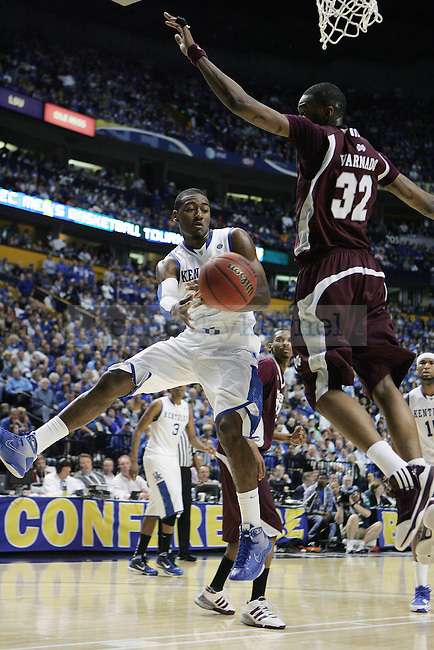 Freshman guard John Wall takes a shot in the second half of UK's win 75-74 over Mississippi State  Bridgestone Arena in the SEC Finals on Sunday, March 14, 2010. Photo by Britney McIntosh | Staff