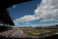 ,during   Colorado Rockies vs Arizona Diamondbacks, game of  Cactus league and Spring Trainig 2013..Salt River Fields stadium in Arizona. February 24, 2013