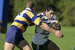 B. Maloney tackles Manurewa fullback R. Koroi. Counties Manukau Premier Club Rugby, Patumahoe vs Manurewa played at Patumahoe on Saturday 6th May 2006. Patumahoe won 20 - 5.