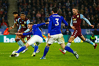 8th January 2020; King Power Stadium, Leicester, Midlands, England; English Football League Cup Football, Carabao Cup, Leicester City versus Aston Villa; Marc Albrighton of Leicester City hooks a shot at goal - Strictly Editorial Use Only. No use with unauthorized audio, video, data, fixture lists, club/league logos or 'live' services. Online in-match use limited to 120 images, no video emulation. No use in betting, games or single club/league/player publications
