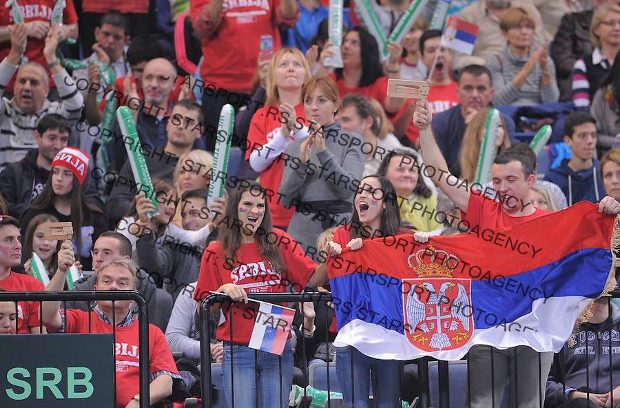 Tennis Tenis<br /> Davis Cup Final 2013<br /> Serbia v Czech Republic<br /> Novak Djokovic v Tomas Berdych<br /> Serbia fans supporters navijaci<br /> Beograd, 17.11.2013.<br /> foto: Srdjan Stevanovic/Starsportphoto &copy;
