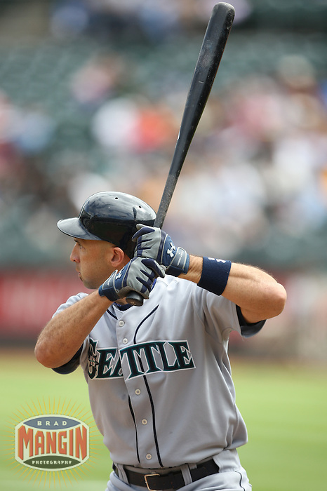 OAKLAND, CA - SEPTEMBER 20:  Raul Ibanez of the Seattle Mariners bats during the game against the Oakland Athletics at the McAfee Coliseum in Oakland, California on September 20, 2008.  The Athletics defeated the Mariners 8-7.  Photo by Brad Mangin