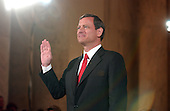 Washington, D.C. - September 12, 2005 -- Judge John G. Roberts is sworn-in to testify before the United States Senate Committee on the Judiciary hearing on his nomination to be Chief Justice of the United States..Credit: Ron Sachs / CNP