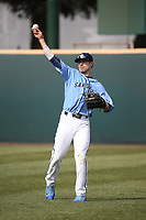 Hunt Mercado-Hood (5) of the University of San Diego Toreros throws in the outfield between innings of a game against the UCLA Bruins at Jackie Robinson Stadium on March 4, 2017 in Los Angeles, California.  USD defeated UCLA, 3-1. (Larry Goren/Four Seam Images)