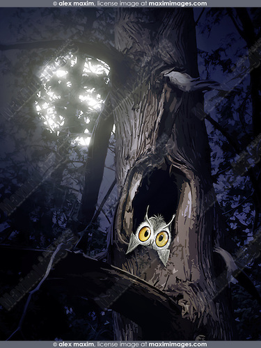 Cute baby owl peeking out of a tree hole at night in full moon. Artistic illustration.