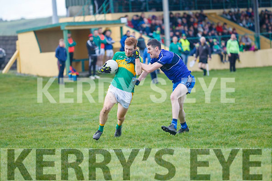 Skellig Rangers Michael O'Sullivan attacking gets an earful from Renards Kenneth Casey.