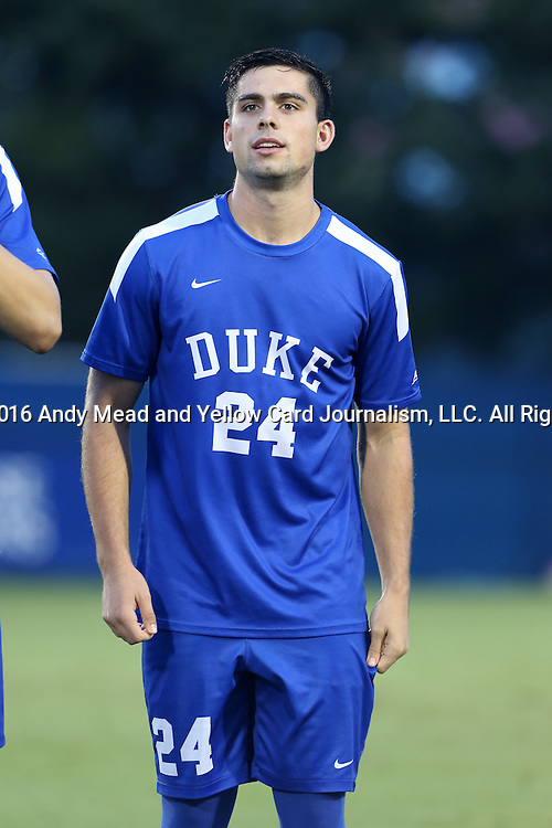 27 September 2016: Duke's Brian White. The Duke University Blue Devils hosted the Georgia State University Panthers at Koskinen Stadium in Durham, North Carolina in a 2016 NCAA Division I Men's Soccer match. Georgia State won the game 2-1 in two overtimes.