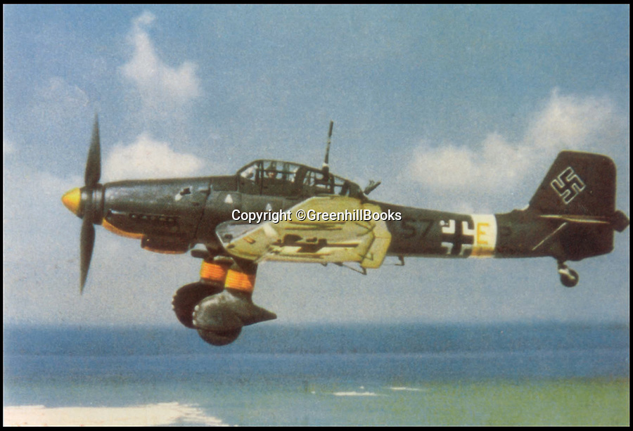 BNP.co.uk (01202 558833)<br /> Pic: GreenhillBooks/BNPS<br /> <br /> A Stuka in flight over the North African coast in 1941.<br /> <br /> The story of Hitler's Third Reich is told in a unique way in a new book which provides a fresh insight into the sinister regime through 100 objects.<br /> <br /> Included in the comprehensive list is Hitler's personal moustache brush which was taken from the bedroom of his Munich apartment after his death by his housekeeper Anni Winter. <br /> <br /> Historian Roger Moorhouse also reveals the bizarre tale of Nazi deputy leader Rudolf Hess' long johns which were seized by the British after his misjudged decision to fly to Britain in 1941 for 'peace' talks.<br /> <br /> They were confiscated by the British secret service for 'propaganda' purposes and have been locked away in the Imperial War Museum archives in London for the past 75 years.