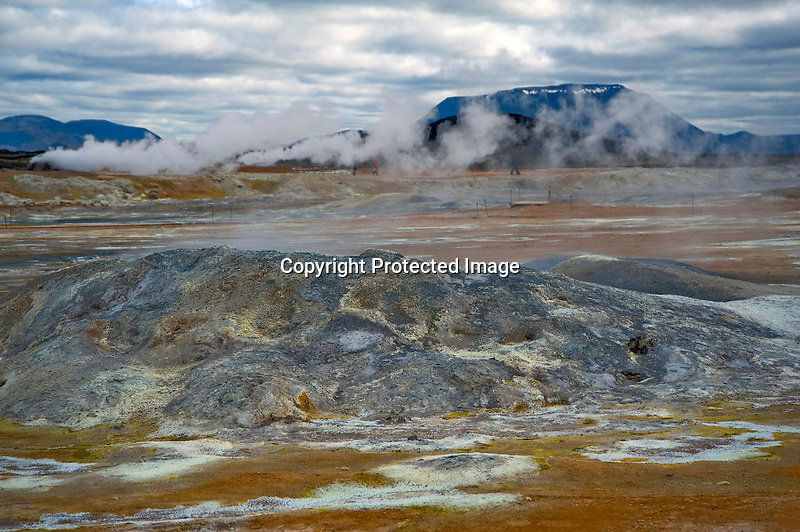 Steaming Hot Springs at Hverarond Geothermal Field in North Iceland