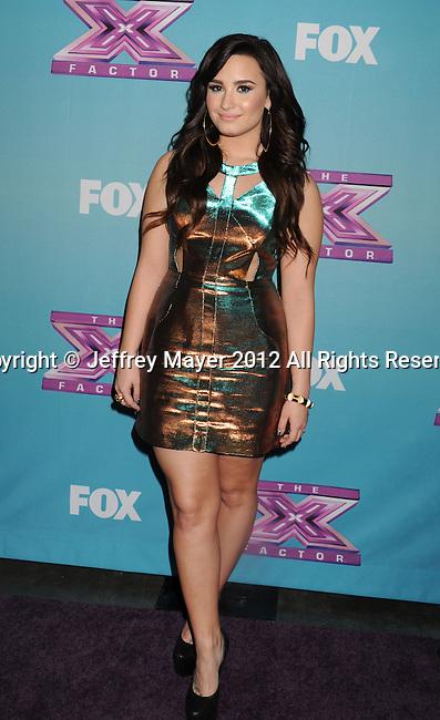 LOS ANGELES, CA - DECEMBER 20: Demi Lovato  attends the FOX's 'The X Factor' Season Finale - Night 2 at CBS Televison City on December 20, 2012 in Los Angeles, California.