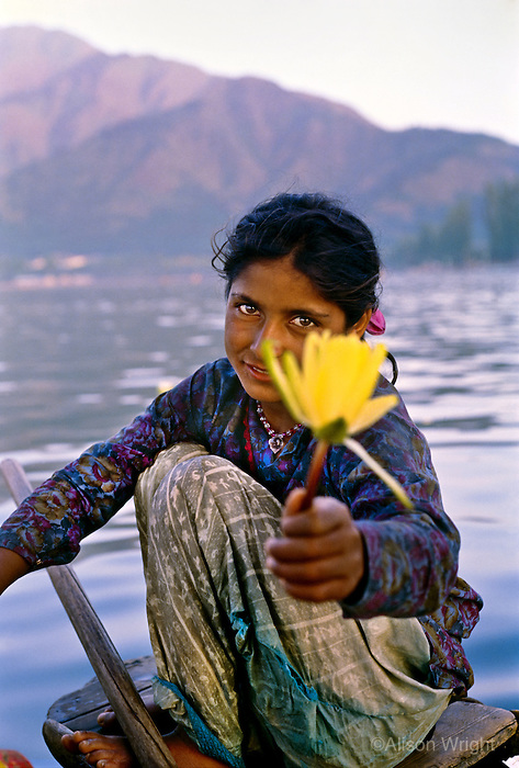 Girl with flower in kashmir, India, 1991