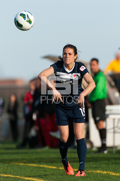 Sky Blue FC forward Kelley O'Hara (19) on a throw in. Sky Blue FC defeated the Western New York Flash 1-0 during a National Women's Soccer League (NWSL) match at Yurcak Field in Piscataway, NJ, on April 14, 2013.