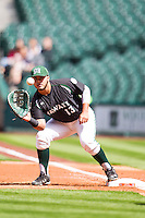 Hawaii Rainbow Warriors first baseman Eric Ramirez (13) records a putout at first base during Houston College Classic against the Baylor Bears on March 6, 2015 at Minute Maid Park in Houston, Texas. Hawaii defeated Baylor 2-1. (Andrew Woolley/Four Seam Images)