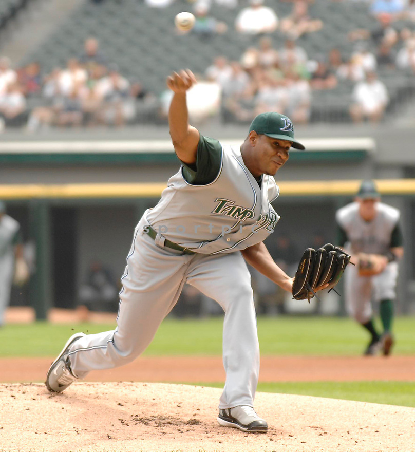 EDWIN JACKSON, of the Tampa Bay Devil Rays, in action during the Devil Rays game against the Chicago White Sox  in Chicago on August 27, 2007.  The White Sox won the game 5-4............